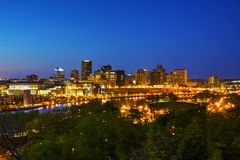Overview of downtown St. Paul, MN. At night Stock Photos
