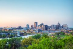 Overview of downtown St. Paul, MN. At sunset royalty free stock image