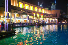 Overview of the Dubai Mall at night Stock Images