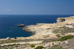 Dwejra And Azure Window, Malta. Overview of the Dwejra area with the famous Azure Window Stock Photos