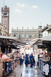 Overview of erba square in Verona with its restaurants and mark Stock Photos