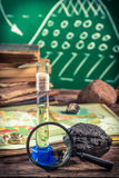 Overview expedition geography lesson. Retro style royalty free stock images