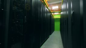 Overview of a fully-equipped server unit. Servers in data center. Overview of a fully-equipped server unit. 4K stock video footage