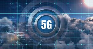 5G network connections, the future of digital global connectivity 4k. An overview of 5G  connectivity above the clouds with network background in motion 4k vector illustration