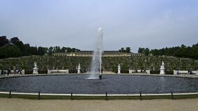 Overview of garden terraces and fountain of Sanssouci Palace Stock Photo