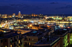 Overview of Genoa at evening Royalty Free Stock Photos