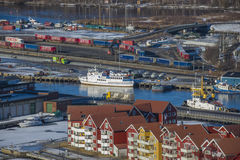 Overview halden harbor and tista river Royalty Free Stock Photo
