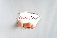 Overview. Hand and text Overview for text on the cardboard background - business concept stock photo