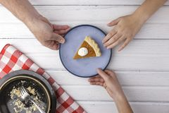 Who gets the last piece of pie stock photography