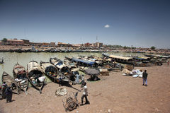 Overview of the harbor of Mopti, Mali. Western Africa Royalty Free Stock Photos