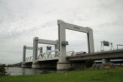 Overview of highway A15 at the Botlek bridge botlekbrug in dutch which is famous by lot of malfunction. Overview of highway A15 at the Botlek bridge at Royalty Free Stock Image
