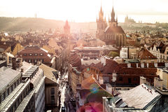 Overview of Historic Centre at sunset. Prague, Czech Republic Royalty Free Stock Image