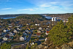 Overview of knardal and halden harbor Stock Images