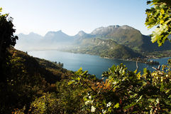 OVerview of lake Annecy at autumn on morning Royalty Free Stock Photo