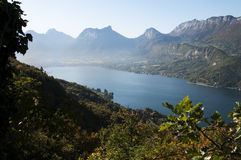 OVerview of lake Annecy at autumn on morning Stock Photography