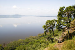 Overview of Lake Chala. Africa royalty free stock images
