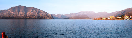 Overview of Lake Iseo at sunset in Valcamonica in Brescia Royalty Free Stock Photos