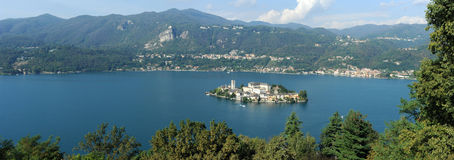 Overview at lake Orta with the island of San Giulio Stock Photography