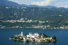Overview at lake Orta with the island of San Giulio Royalty Free Stock Photo