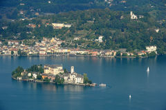 Overview at lake Orta with the island of San Giulio Royalty Free Stock Image