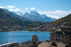 Overview of Lake St. Moritz, Royalty Free Stock Photo
