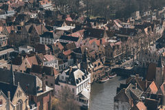 Overview of Low Rise Buildings and Canal in Bruges Stock Image