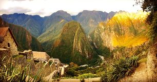 Overview of Machu Picchu Site Royalty Free Stock Photography