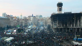 Overview of Maidan after the Revolution. KIEV, UKRAINE - FABUARY 27: Overview of Maidan after the Revolution on January 24, 2014 in Kiev, Ukraine. The anti stock video footage