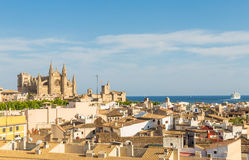 Overview of main cathedral and roofs of central district of Palm. Overview of La Seu cathedral and roofs of center of Palma de Mallorca Royalty Free Stock Images
