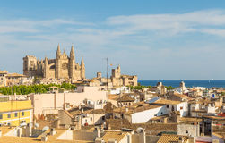 Overview of main cathedral and roofs of central district of Palm. Overview of La Seu cathedral and roofs of central district of Palma de Mallorca Royalty Free Stock Photo