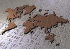 Overview Map of the world. World Map bronze effect and water with metallic effect Stock Photo