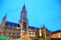 Overview of Marienplatz in Munich. Germany at sunrise royalty free stock photography
