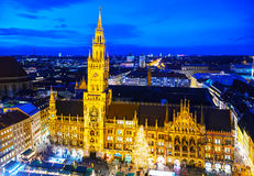 Overview of Marienplatz in Munich Royalty Free Stock Photo