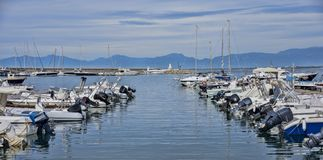 Overview of the marina of Agropoli village Royalty Free Stock Images