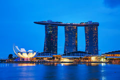 Overview of the marina bay with Marina Bay Sands Stock Photo