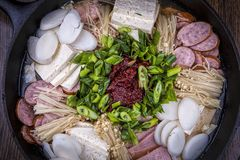 Overview of modern Korean dish. Royalty Free Stock Photography