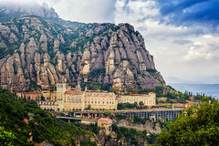 Overview Montserrat monastery Royalty Free Stock Images