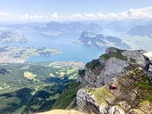 Overview from MT Pilatus. Pilatus, also often referred to Mount Pilatus, is a mountain massif overlooking Lucerne in Central Switzerland. It is composed of stock images