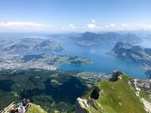 Overview from MT Pilatus. Pilatus, also often referred to Mount Pilatus, is a mountain massif overlooking Lucerne in Central Switzerland. It is composed of stock photos