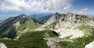 Overview from MT Pilatus. Pilatus, also often referred to Mount Pilatus, is a mountain massif overlooking Lucerne in Central Switzerland. It is composed of royalty free stock image