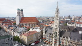 Overview of Munich. City on rooftop stock images