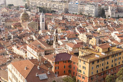 Overview of Nice, France. Nice is the fifth most populous city in France, after Paris, Marseille, Lyon and Toulouse, and it is the capital of the Alpes Maritimes Stock Photography