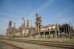 Overview of old chemical plant Royalty Free Stock Images