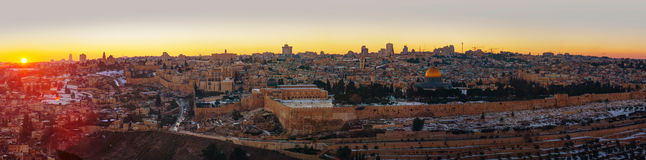 Overview of Old City in Jerusalem, Israel. With The Golden Dome Mosque Stock Photo