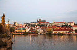 Overview of old Prague from Charles bridge Royalty Free Stock Image