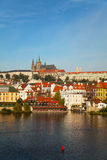 Overview of old Prague from Charles bridge side Royalty Free Stock Photo