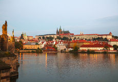 Overview of old Prague from Charles bridge side Stock Images