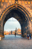 Overview of old Prague from Charles bridge side Stock Photography