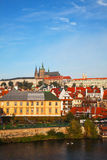Overview of old Prague from Charles bridge side Stock Photo