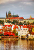 Overview of old Prague from Charles bridge side Royalty Free Stock Photos